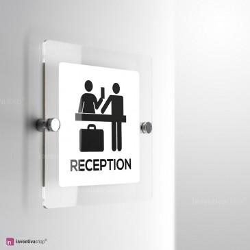 Cartello Plex: Reception Hotel monofacciale a parete