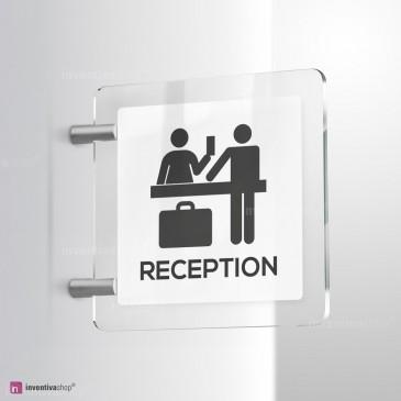 Cartello Plex: Reception Hotel bifacciale