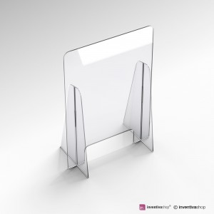 Barriera in plexiglass da banco con piedi laterali