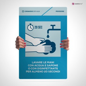 Cartello lavare e disinfettare le mani