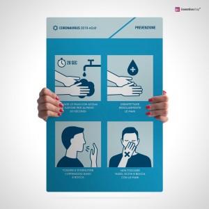 Cartello con le 4 regole per contenere l'infezione
