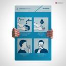 Cartello con grafica informativa per contenere l'infezione