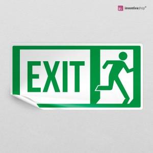 Adesivo uscita di emergenza scritta EXIT rettangolare 2-1