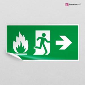 Adesivo uscita antincendio direzionale rettangolare 2-1