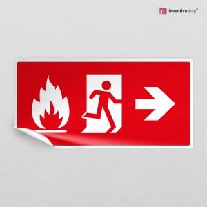 Adesivo Uscita antincendio rosso direzionale rettangolare 2-1