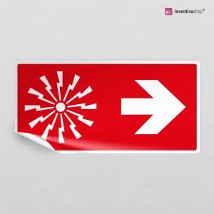 Adesivo Allarme antincendio direzionale rettangolare 2-1