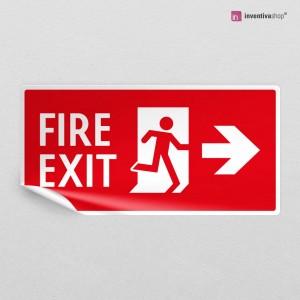 Adesivo Uscita antincendio direzionale con scritta rettangolare 2-1