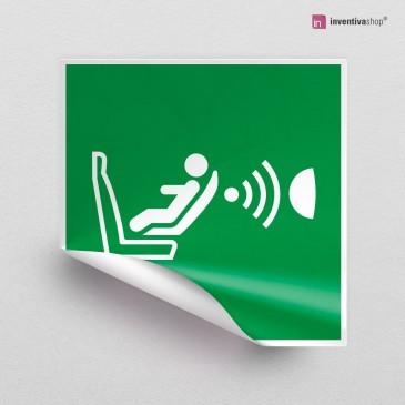 Adesivo Sistema di rilevamento presenza e orientamento sedile per bambini (CPOD) E014 finitura Bianco