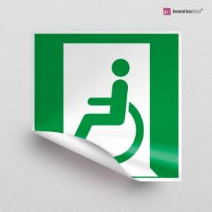 Adesivo Uscita d'emergenza disabili sinistra/destra E026-E030