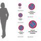 Cartello vietato parcheggiare - solo veicoli d'emergenza: misure adesivo / alluminio