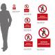 Cartello vietato appoggiarsi: misure adesivo / alluminio