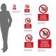 Cartello Vietato usare l'ascensore in caso di incendio: misure adesivo / alluminio