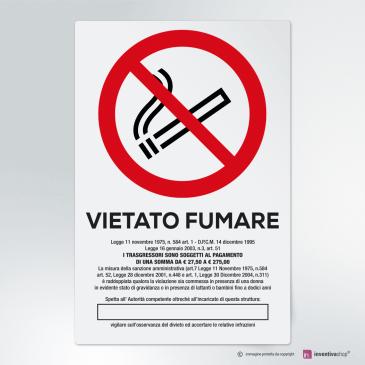 Cartello vietato fumare con leggi