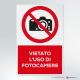 Cartello vietato l'uso di fotocamere