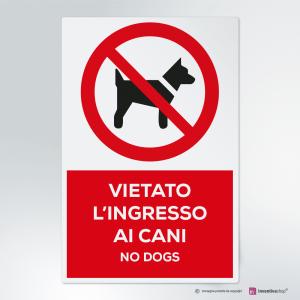 Cartello multi-materiale: vietato l'ingresso ai cani