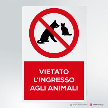 Cartello vietato l'ingresso agli animali
