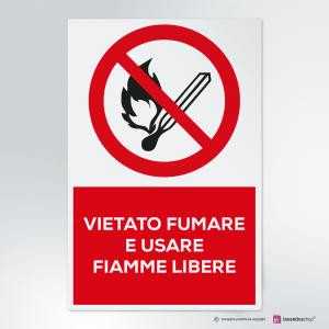 Cartello vietato fumare e usare fiamme libere