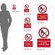 Cartello vietato fumare e usare fiamme libere: misure adesivo / alluminio