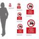 Cartello vietato il transito di carrelli elevatori: misure adesivo / alluminio