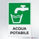 Cartello plexiglass (cm 13 x 20 ) su parete con distanziatori: Acqua potabile