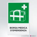 Cartello plexiglass ( cm 13 x 20 ) su parete con distanziatori: borsa medica d'emergenza