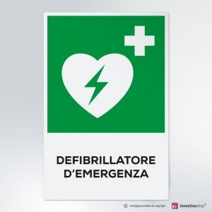 Cartello Defibrillatore d'emergenza