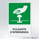 Cartello plexiglass ( cm 13 x 20 ) su parete con distanziatori: Pulsante d'emergenza