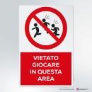 Cartello plexiglass ( cm 13 x 20 ) su parete con distanziatori: vietato giocare in questa area
