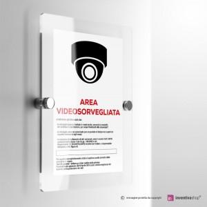 Cartello Plex: Area videosorvegliata con sistema 360°.