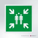 Cartello plexiglass su parete con distanziatori: Punto d'incontro E007