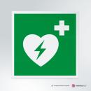 Cartello plexiglass su parete con distanziatori: Defibrillatore d'emergenza E010
