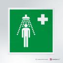 Cartello plexiglass su parete con distanziatori: doccia d'emergenza E012