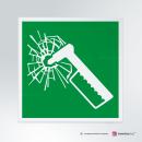 Cartello plexiglass su parete con distanziatori: martello d'emergenza E025