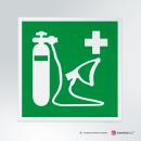 Cartello plexiglass su parete con distanziatori: Ossigeno di rianimazione E028