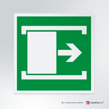 Cartello Porta con apertura scorrevole a destra E033