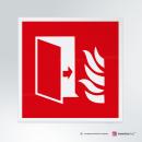 Cartello plexiglass su parete con distanziatori: Porta tagliafuoco F007