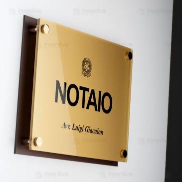 Targa plexiglass MetalPlus finitura Oro Metallico Doppia Lastra