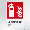 Cartello plexiglass ( cm 13,3 x 20 ) su parete con distanziatori: Estintore a polvere numerato antincendio