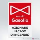 Cartello rettangolare Valvola Gasolio