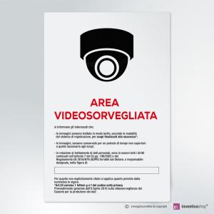Cartello multi-materiale: Area videosorvegliata 360 gradi