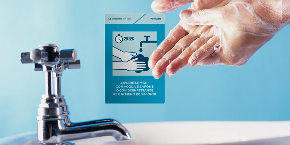 Cartelli segnaeltici lavare le mani per 20 secondi
