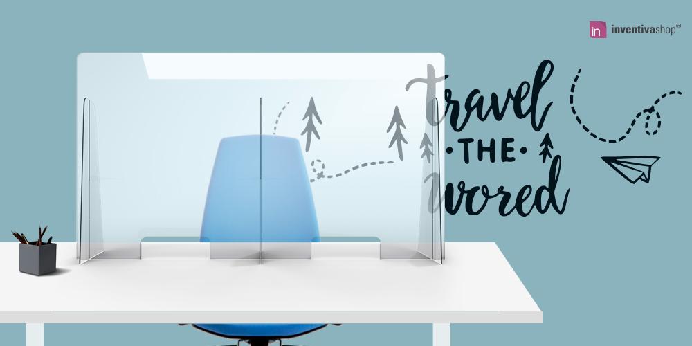 Pannelli protettivi in plexiglass per uffici generici, agenzia di viaggio, uffici disbrigo pratiche