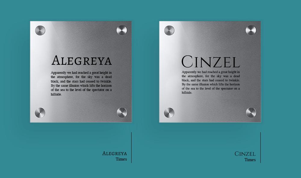 Targhe in alluminio personalizzate con font serif
