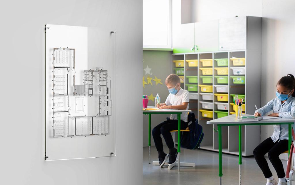 Segnaletica di sicurezza nelle scuole: piantina su targa plexiglass grande formato