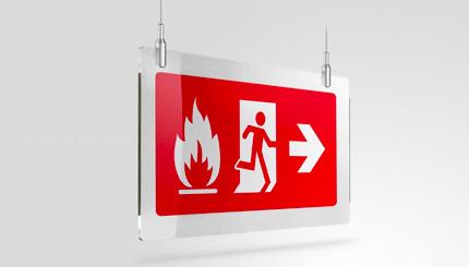 Cartello uscita emergenza in caso di incendio