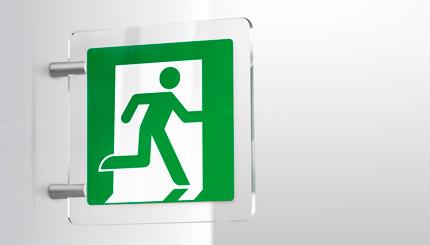 >Cartello uscita di emergenza plexiglass a bandiera