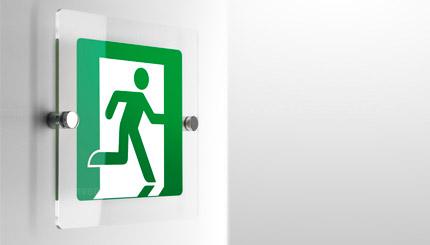 Cartello uscita di emergenza plexiglass a parete