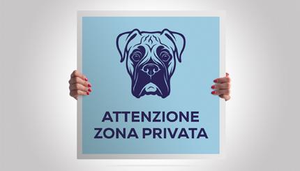 Cartelli attenti al cane razza Corso