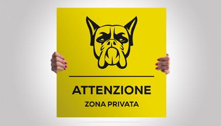 Cartello alluminio quadrato: attenti al cane razza Boxer