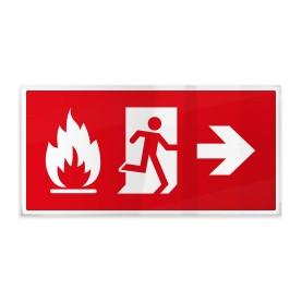 Omino e fiamma su rosso dx